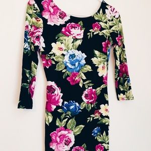 Floral Tight Forever21 Long Sleeve Dress
